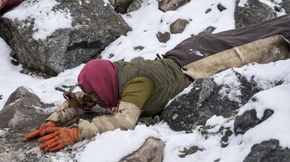 Pilgrim Prostrating around Kailash